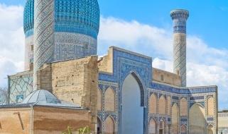 Vacanze in Uzbekistan: vista dell'esterno del Mausoleo di Tamerlano a Samarcanda