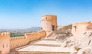 Vista panoramica del Forte di Nakhal, tra le più celebri fortificazioni omanite