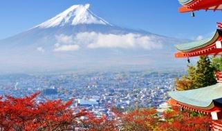 Cartolina giapponese - Vista del Monte Fuji da un tempio