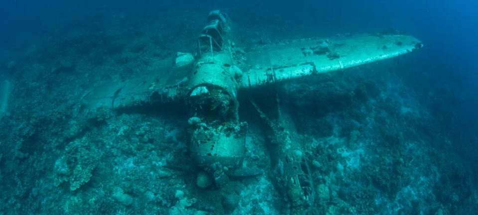 Relitto sommerso in Micronesia - il celebre aereo Jake Seaplane