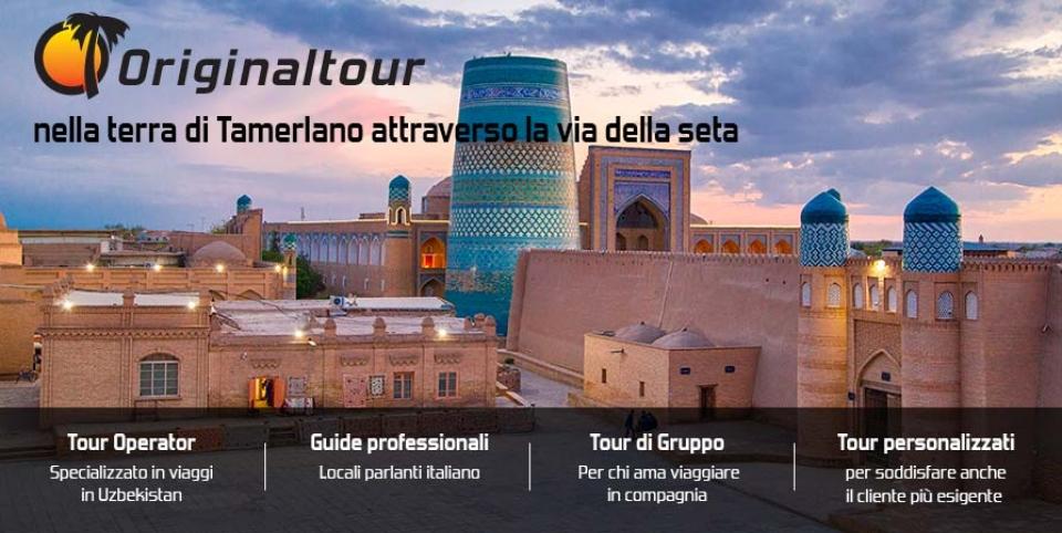 Tour Operator viaggi Uzbekistan, Facciata della madrasa Sher-Dor in Piazza Registan a Samarcanda